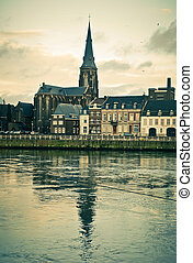 Maastricht River Maas, St Martins Church view - Vintage...