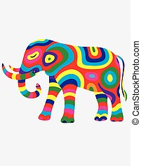 Elephant abstract colorfully, art vector illustration
