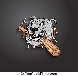 Angry Bulldog Mascot Vector - Angry Bulldog Animal Broke...