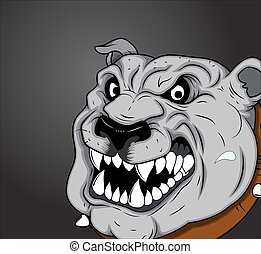 Angry Bulldog Vector Face