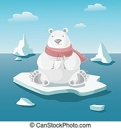 Polar bear illustration - Polar bear on floe holds a mug...