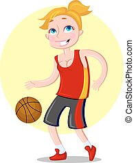 Beautiful sporty female basketball player Vector