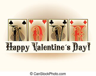 Love poker playing cards, valentines day