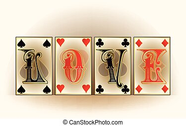 Love poker cards, vector illustration