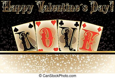 Love poker invitation cards, vector illustration