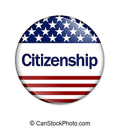 Citizenship Button , A white button with red stripes and...