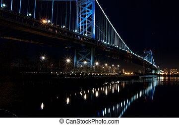 Ben Franklin Bridge - A view of the Philadelphia skyline at...