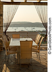 Paros view - Patio at sunset on the Greek island of Paros