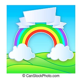 Color Rainbow With Clouds Grass. Vector Illustration