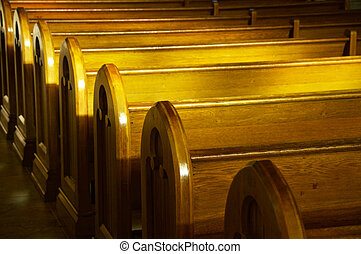 Church Pews - A row of church benches.