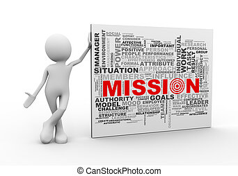 3d man standing with mission wordcloud word tags - 3d...