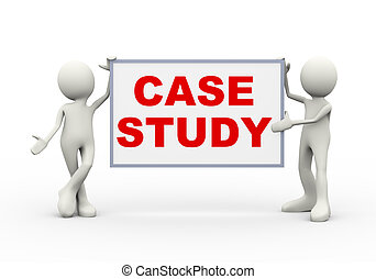 3d man holding case study - 3d illustration of people...
