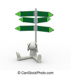 3d confused man and empty road signs
