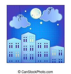 Paper banner with small town. Vector illustration