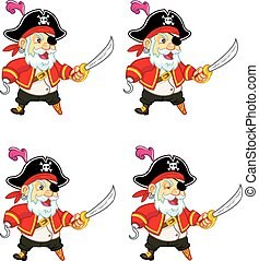Old Pirate Game Sprite - Set of vector illustration of old...