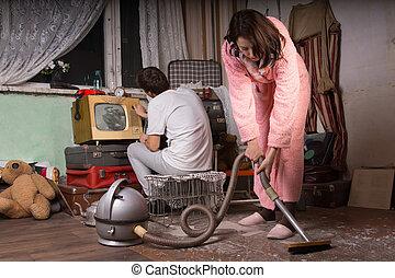 limpieza, pareja, abandonado, habitación, joven