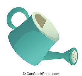 watering can - illustration drawing of blue watering can...