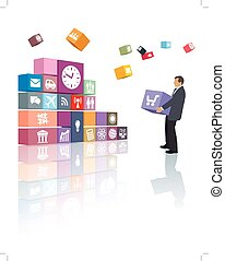 Development - Businessman is developing his own web page or...