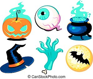 Set of cute vector Halloween elements, objects and icons for you