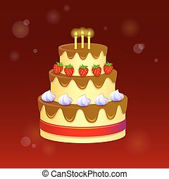 Sweet chocolate cake for birthday holiday. Vector illustration