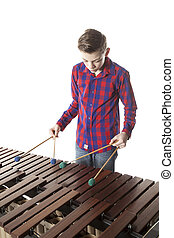 Menino, adolescente, estúdio, tocando,  Marimba