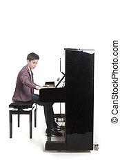 adolescente, Menino, jogos, a, piano, em, estúdio,