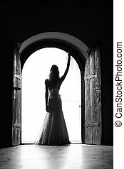 Self Confidence - Beautiful bride standing in the middle of...