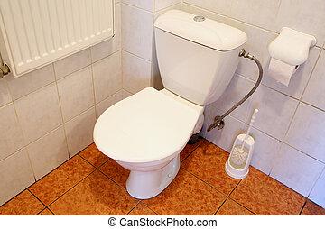 Banheiro, tigela, em, Um, banheiro,
