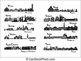 10 cities of Italy - silhouette signts of Milan, Genoa,...