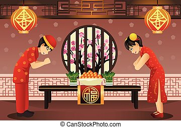 Chinese kids celebrating Chinese New Years - A vector...