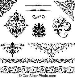 Ornament Set - Set of black vector ornaments including...