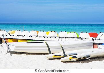 pedalos, coloré, indulgence, exotique, rivage, Sommes, plage