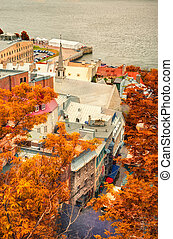 Urban landscape of old port in fall.