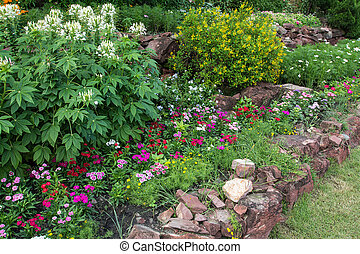 colorful Flowerbed in the garden