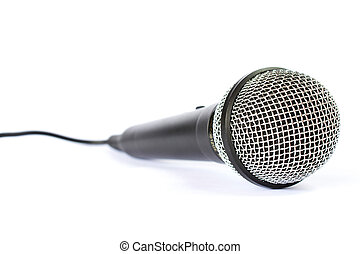 Microphone with black wire isolated on white - Photo of...