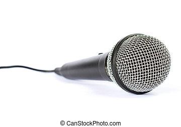 micrófono, con, negro, alambre, aislado, en, white, ,...