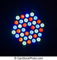 Colorful disco light on black background - Photo of colorful...