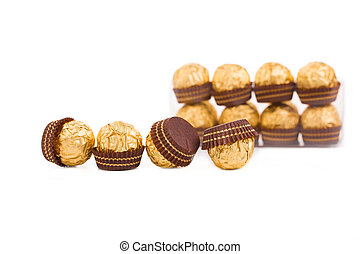 Goldish sweets Isolated on the white background