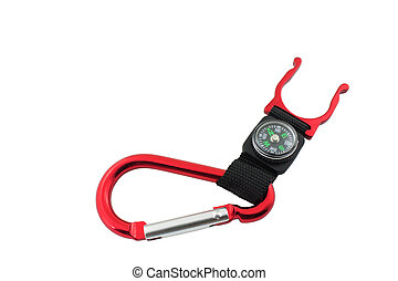Red snap link with compass