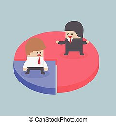 Businessmen standing on chart, Market share concept, VECTOR,...