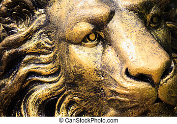 Statue lion stone face  - photo of Statue lion stone face