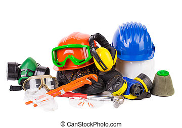 Various working equipment Isolated on a white background