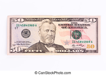 dollar bill - Close up of 50 dollar bill. Isolated on a...