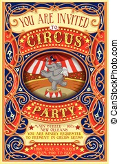 Poster Invite for Circus Party with Elephnant - Detailed...