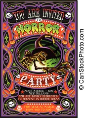 Poster Invite for Halloween Party with Witch - Detailed...