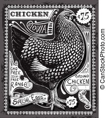 Vintage Poultry and Eggs Advertising on Blackboard -...