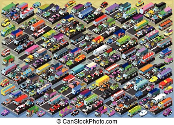 Isometric Cars, Buses, Trucks, Vans, Mega Collection All In...