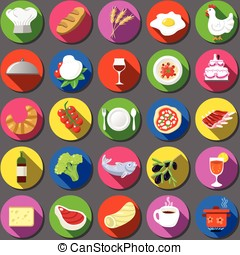 Twenty Five Flat Icon Italian Food Collection - Detailed...