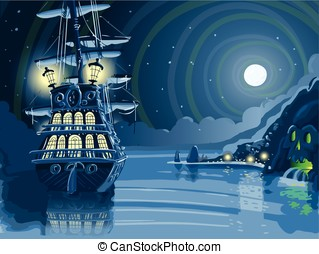 Nocturnal Adventure Island with Pirate Galleon Anchored -...