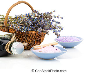 dry lavender flower in a basket with bath salt, isolated on...